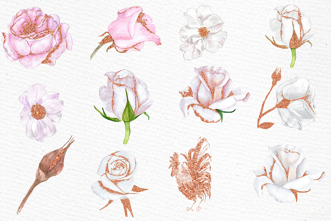 Rose Gold watercolor flowers clipart example image 2
