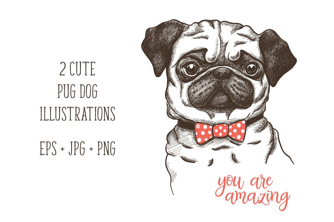 hand drawn funny fashionable pug example image 1