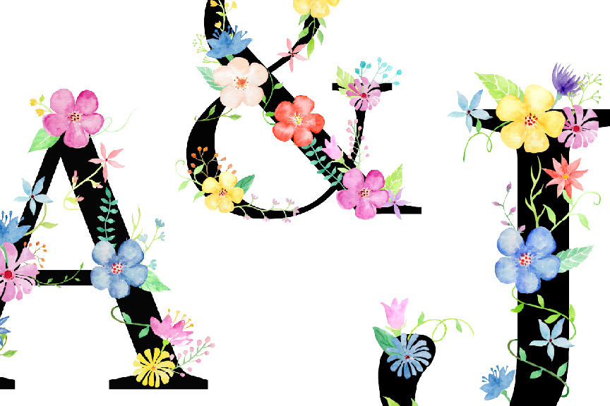 Watercolor floral alphabets with black background example image 2