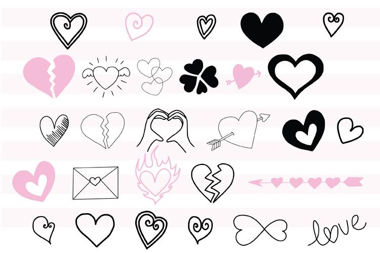 45 Hand Drawn Vector Hearts example image 2
