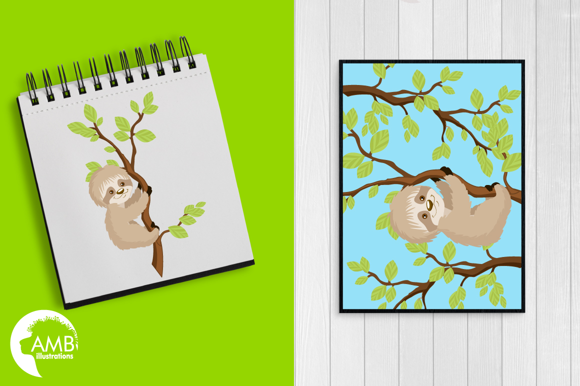 Sleepy Sloths clipart, graphics, illustrations AMB-2200 example image 4