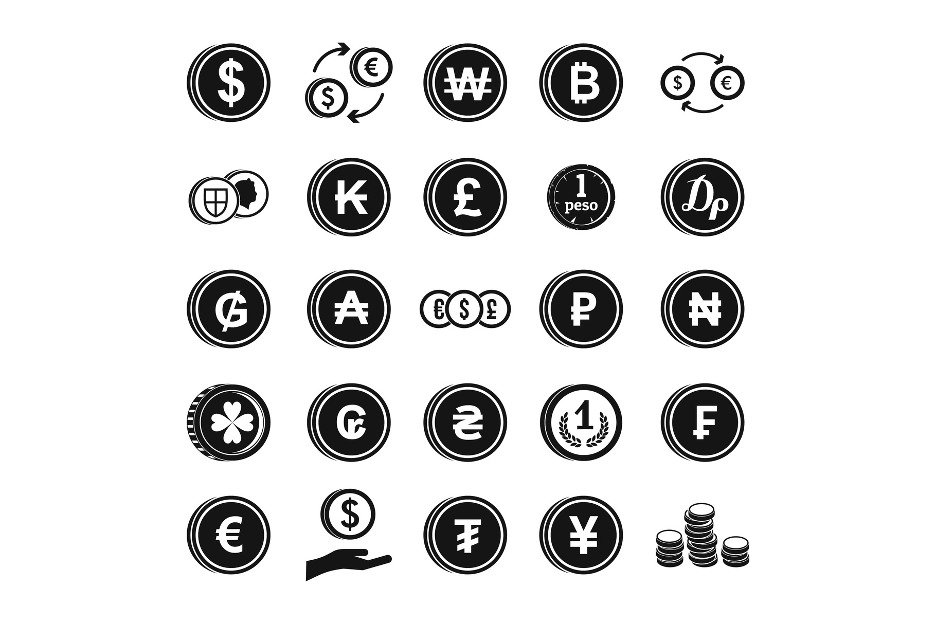 Coin icon set, simple style example image 1