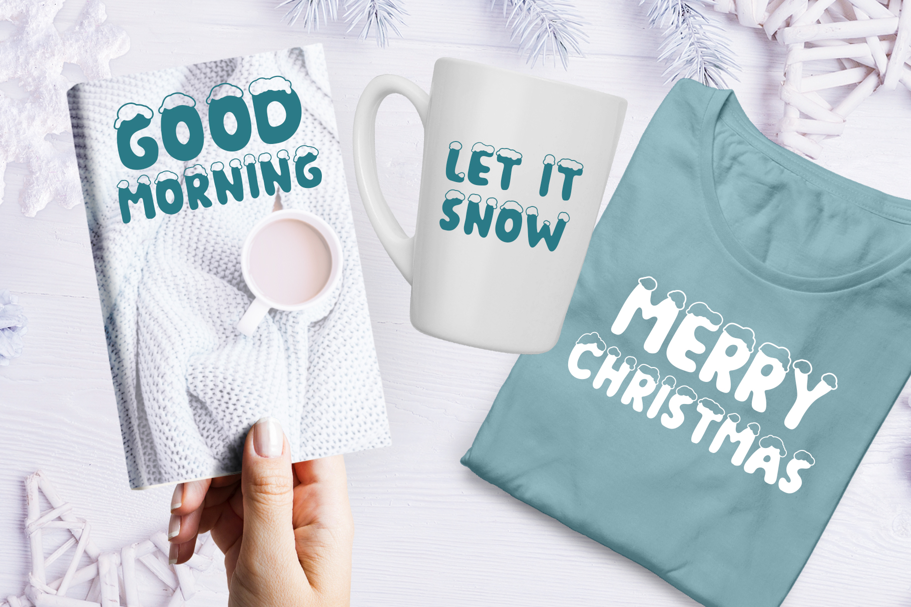 Christmas Snow Hand Drawn Font example image 6