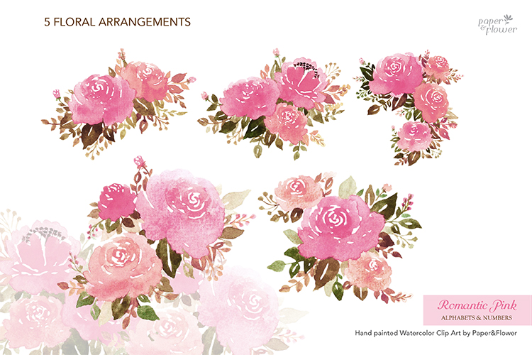 Pink Rose Floral Watercolor Alphabet Set example image 6