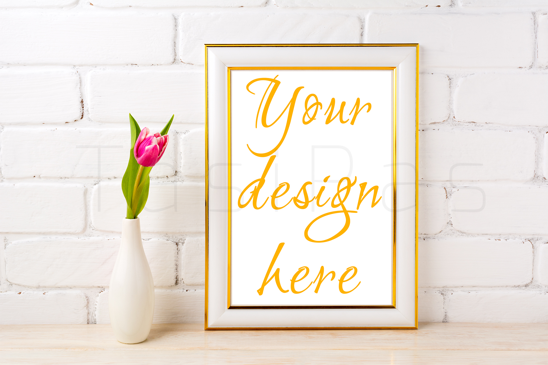 Gold decorated frame mockup with rich magenta pink tulip in elegant vase near white painted brick wall. example image 3