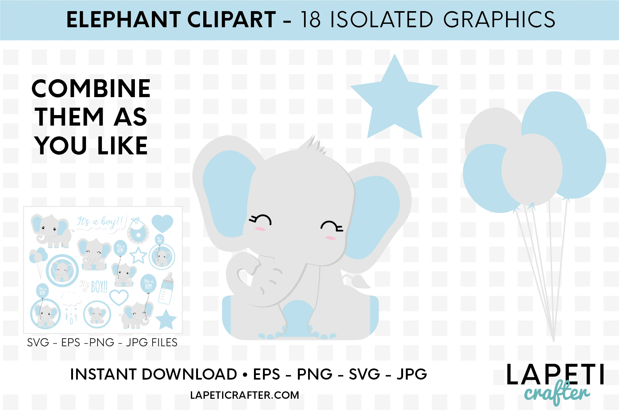 Its a boy Elephant clipart, gender reveal, baby shower svg example image 2