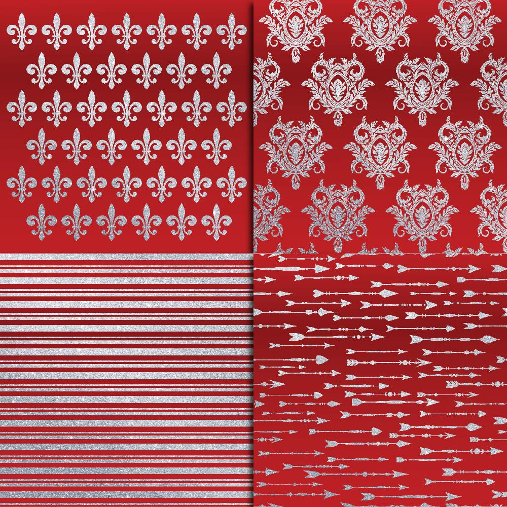 Royal Red & Silver Glitter Digital Paper example image 3