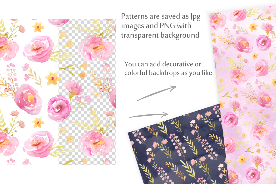 Watercolor Floral Patterns Vol.1 example image 5