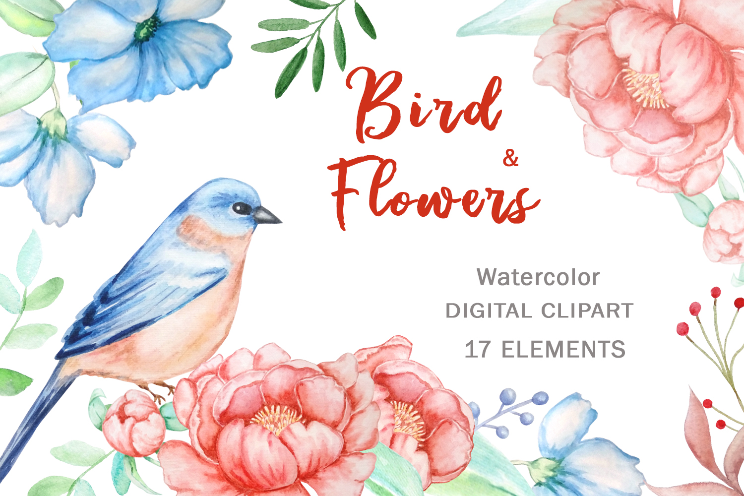 Bird and Flowers Peony Watercolor Clipart example image 1