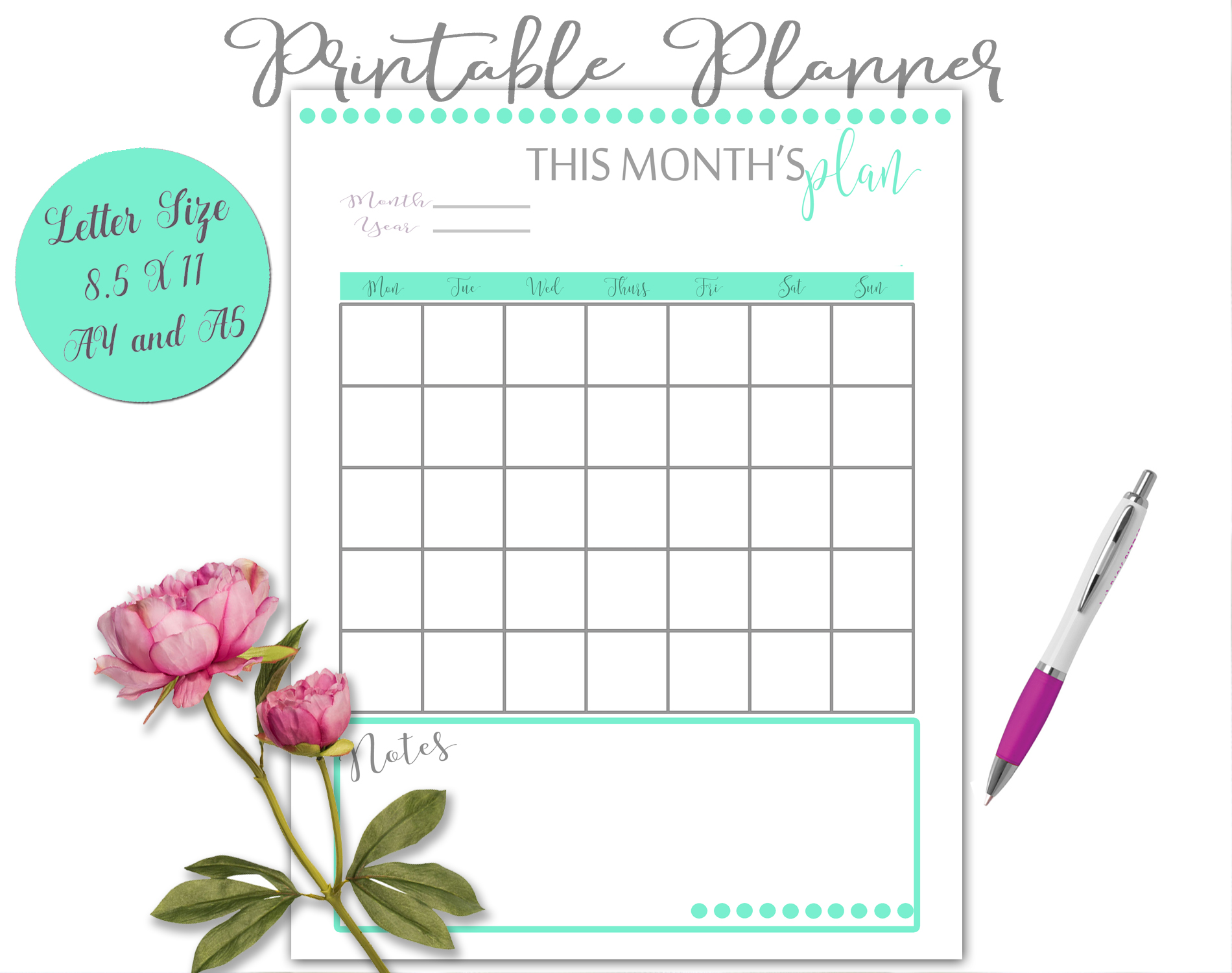 Printable Daily Weekly Monthly Planner Sheets example image 11