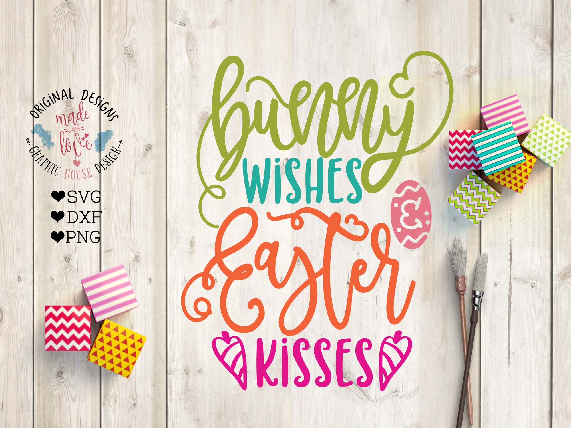 Bunny Wishes and Easter Kisses Cut File example image 1