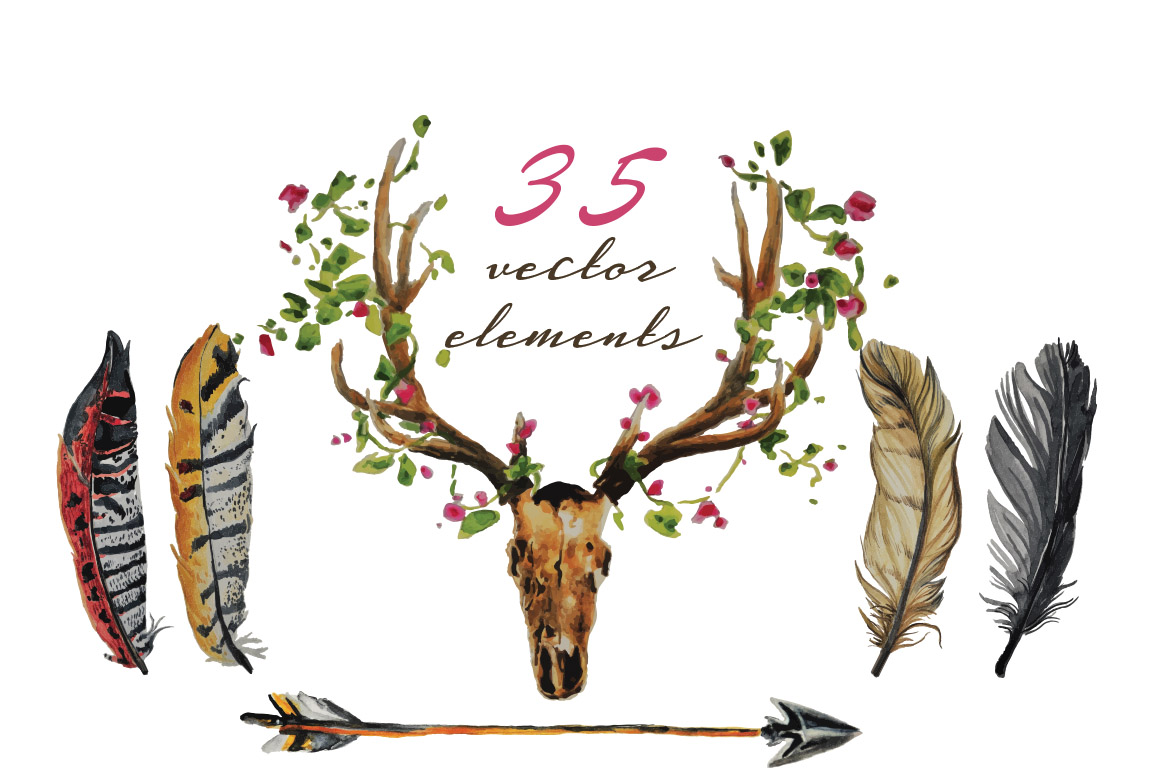 Boho Vibe-Vector Watercolors example image 2