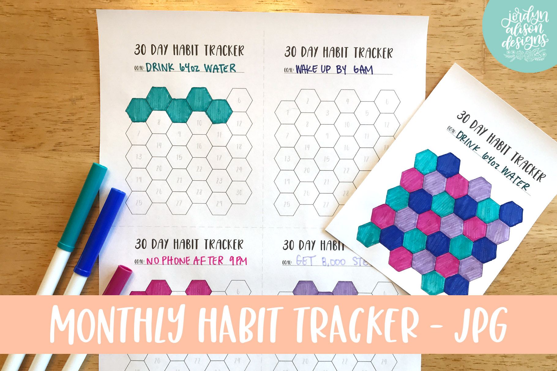 Hexagon Monthly Habit Tracker, Printable or Digital Planner example image 1