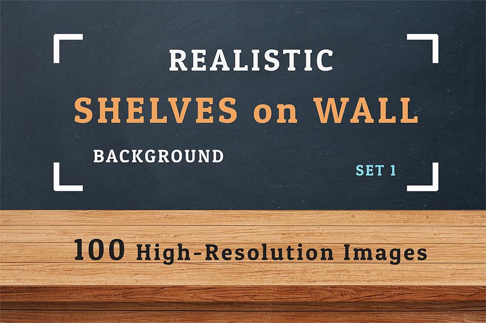 100 Realistic Shelves on Wall. Set 1 example image 1
