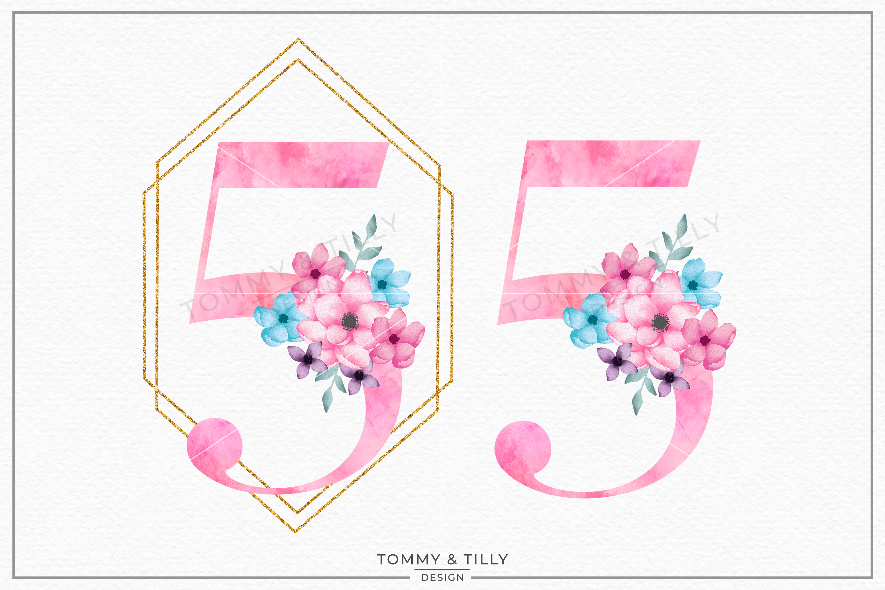 Five Pink Bouquet Birthday Number - Sublimation PNG Clipart example image 1