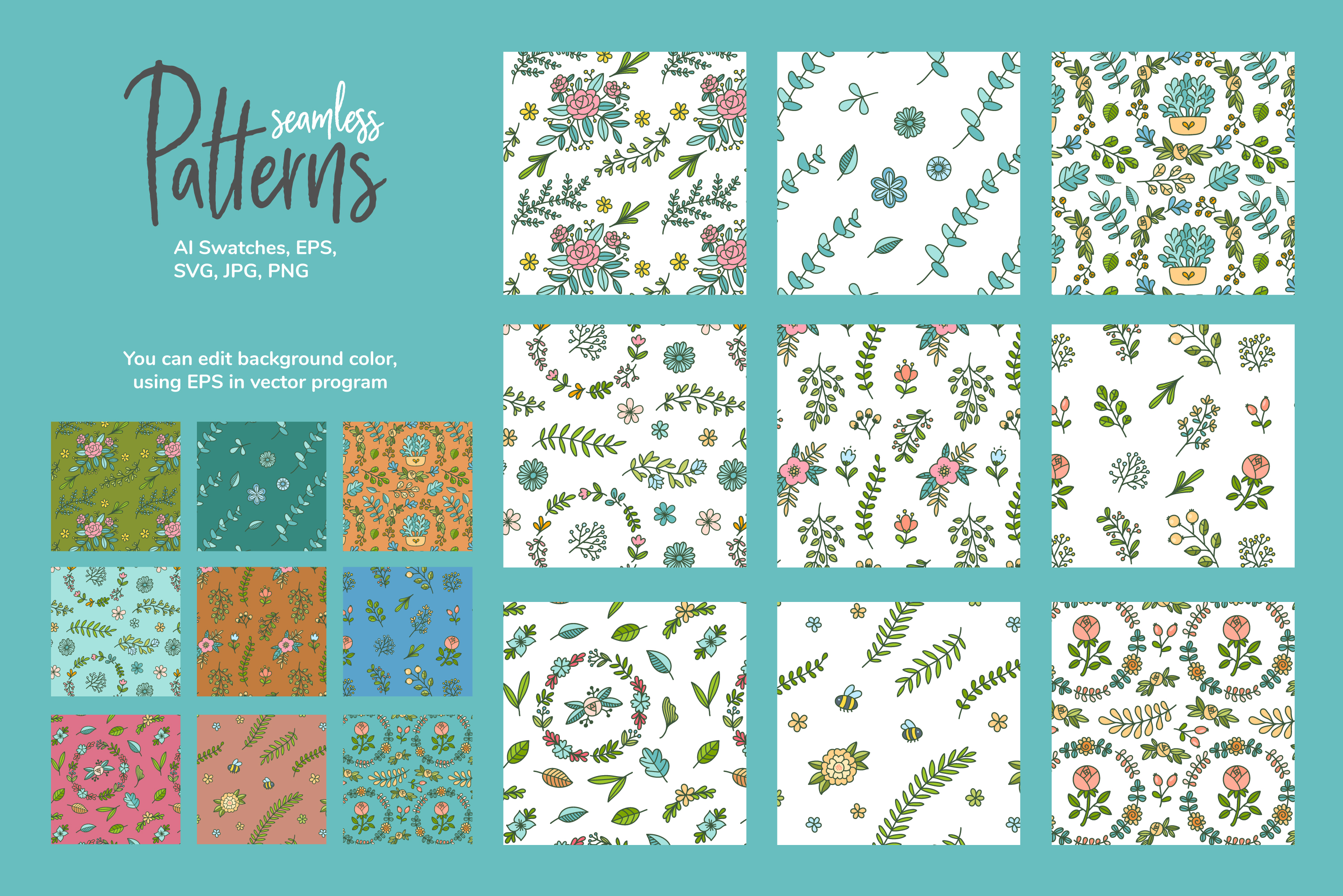 HUGE - Hand Drawn Floral Vectors and Patterns example image 3
