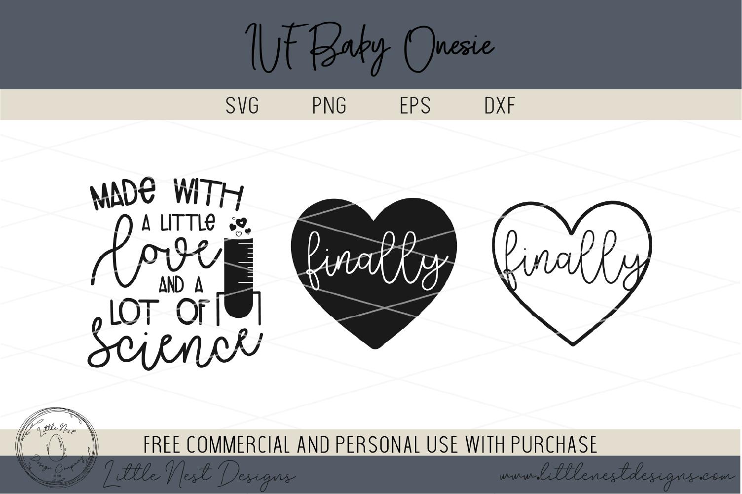 IVF Baby Onesie SVG Bundle - Onesie Cut Files example image 3