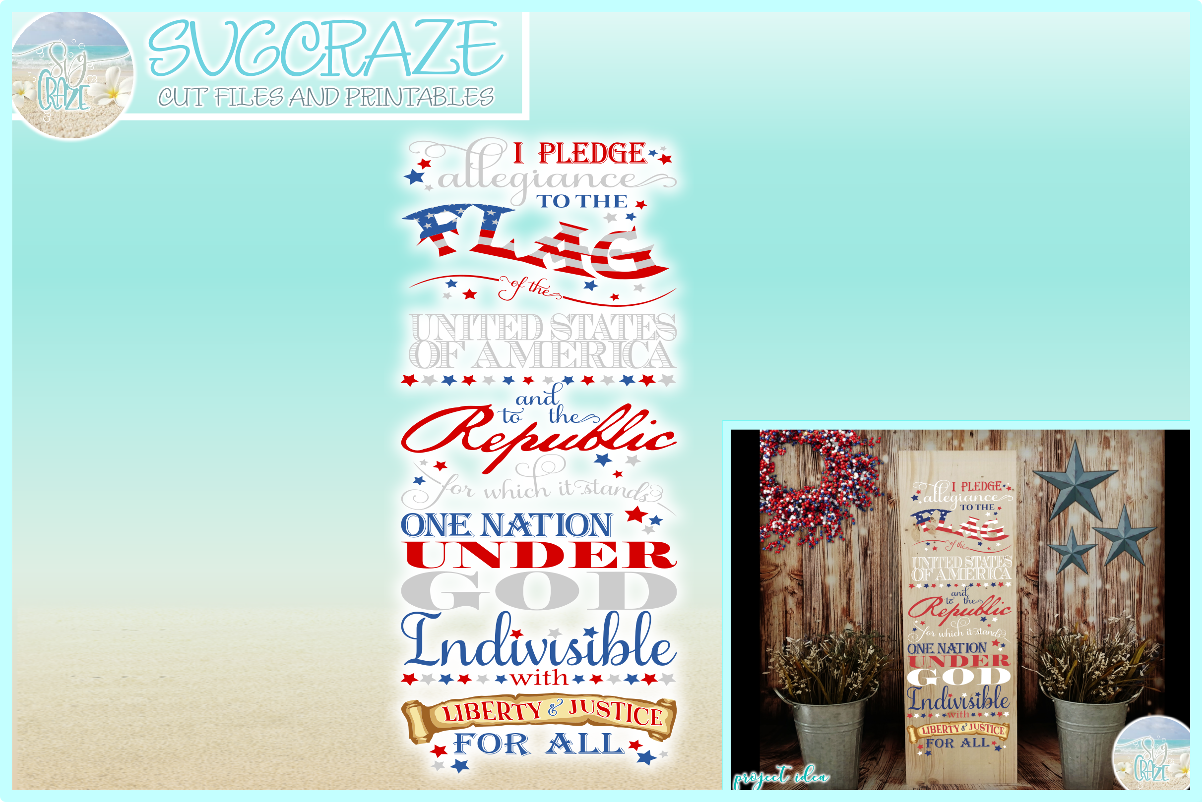 Pledge Of Allegiance Vertical Porch Sign Svg Dxf Eps Png Pdf example image 1