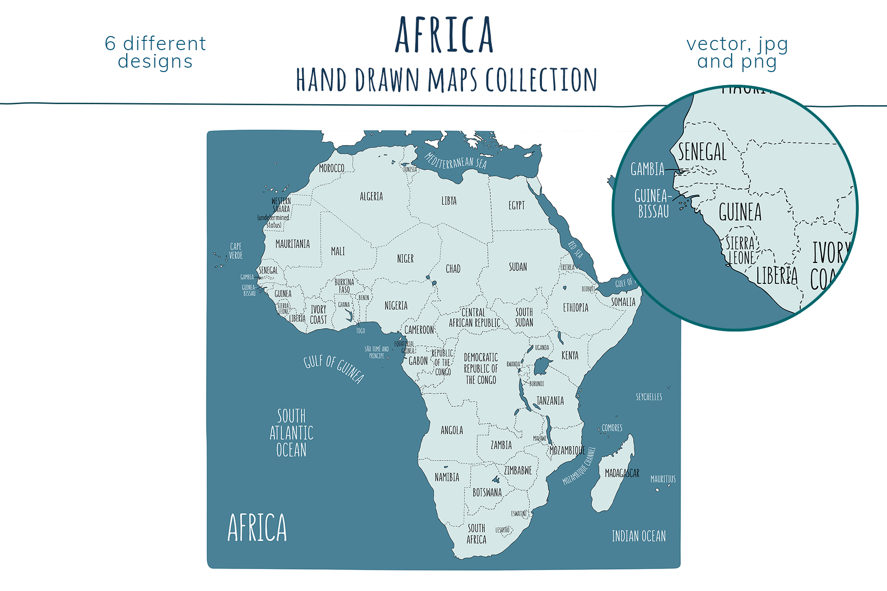 Maps of Africa. Hand drawn collection example image 6