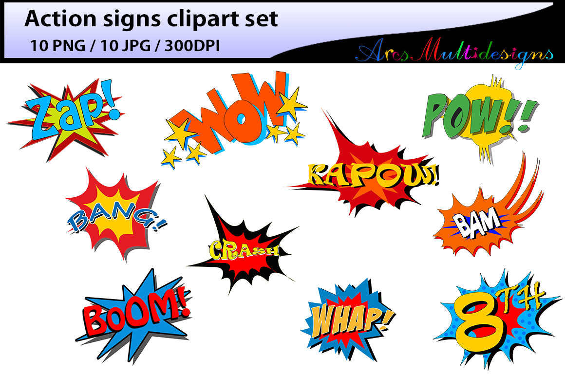 action signs / High Quality clipart / action sign silhouette / zap clipart / bang clipart / pow clipart / boom clipart /pop art / comic book example image 2