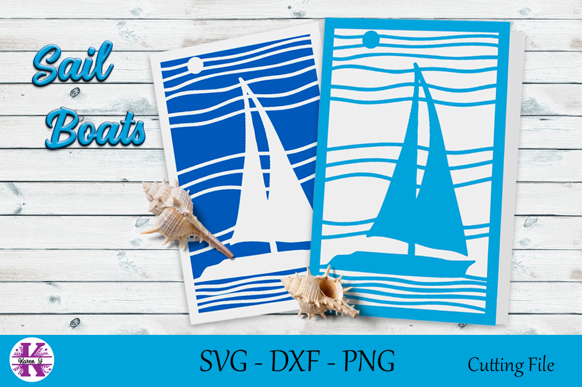 Sail Boat Cut File-SVG DXF PNG-For Crafters example image 1