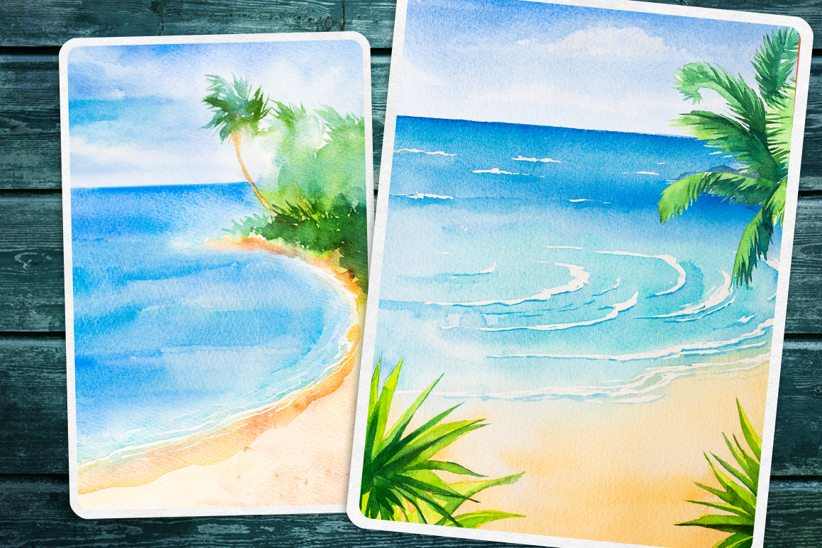 Seascapes 2. Watercolor set. example image 4