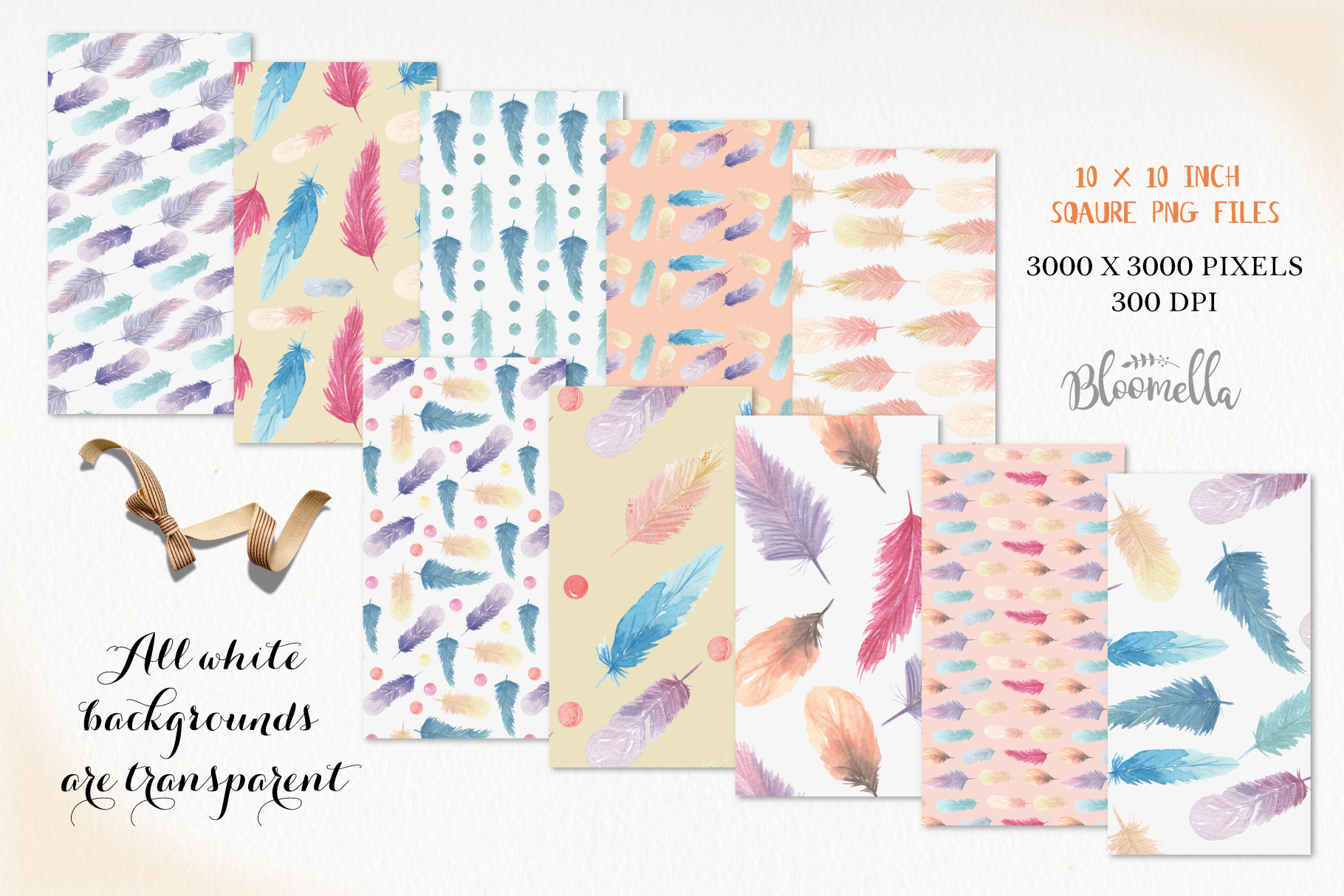 Feathers Seamless Patterns Digital Papers Beads Pretty example image 3