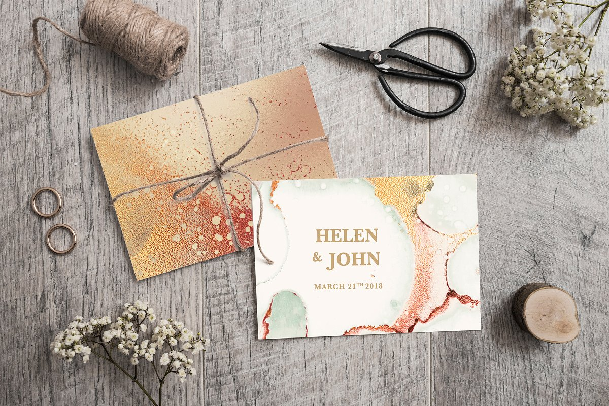 Gold Ink Watercolor and Foil Textures BUNDLE example image 2