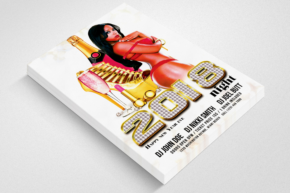 Happy New Year Ladies Party Flyer example image 3