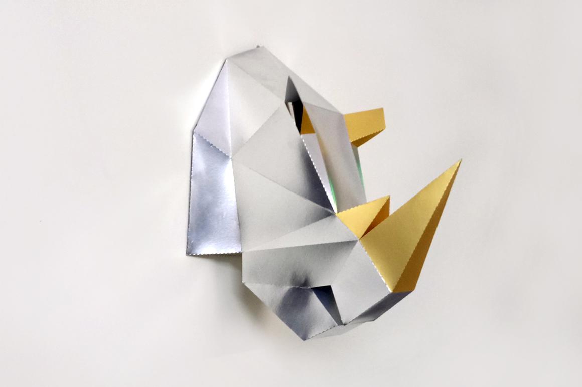 DIY Rhinoceros Head - 3d papercraft example image 4