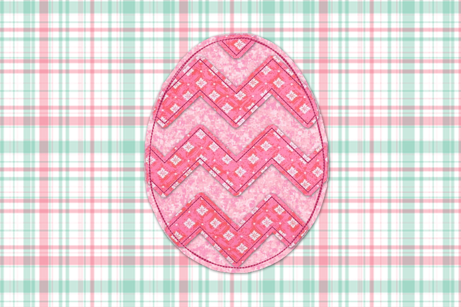 Raggy Chevron Easter Egg Applique Embroidery Set example image 4