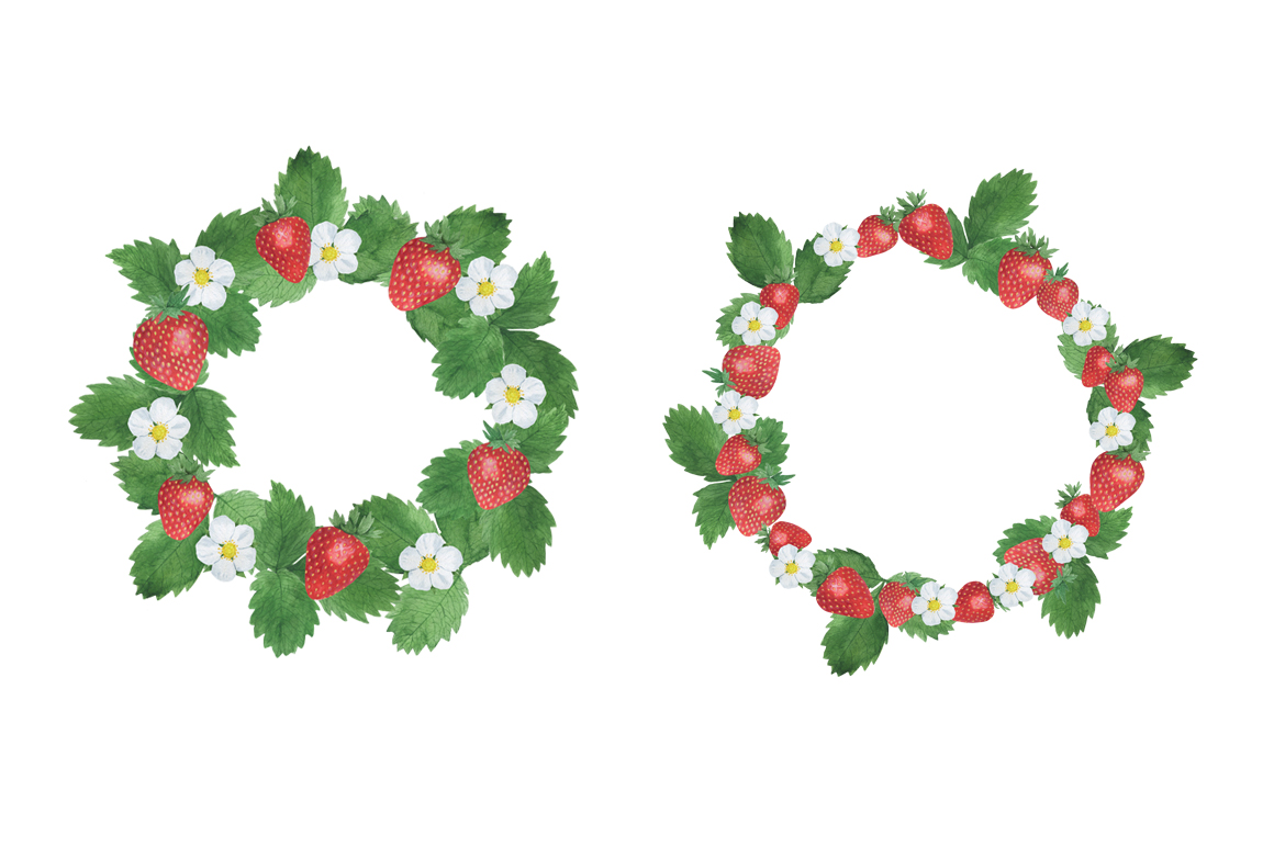 Set Strawberry Watercolor example image 8