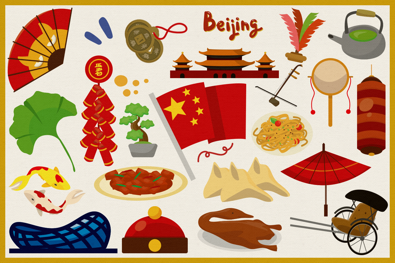 Travel to China Vector Clipart and Seamless Pattern example image 4