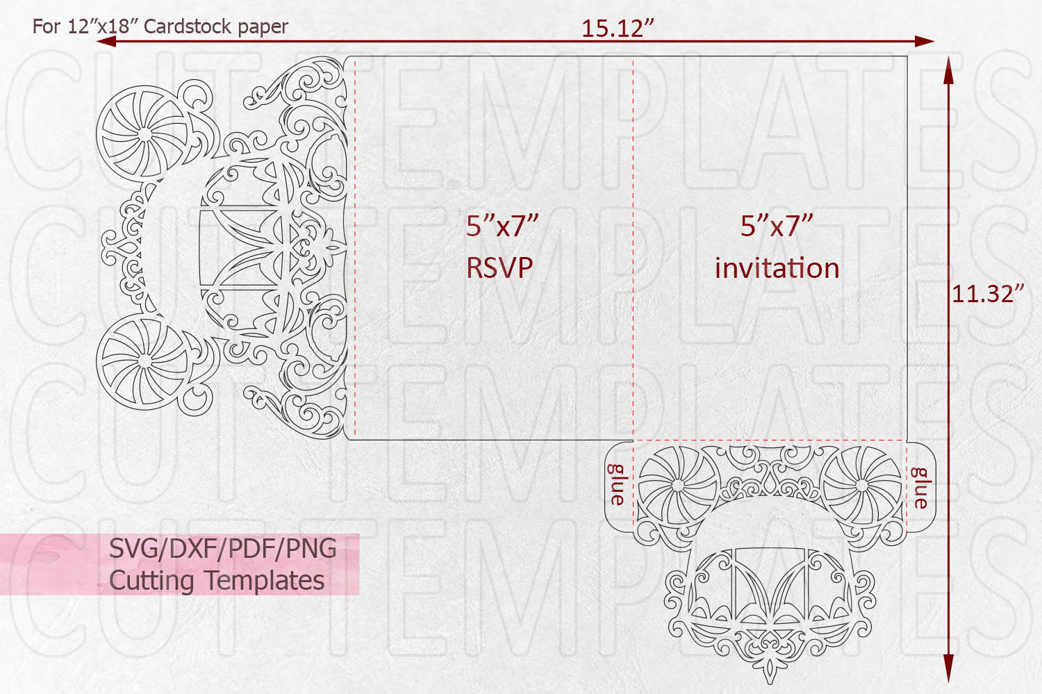 Princess Carriage Wedding Invitation Trifold Quinceanera svg example image 5