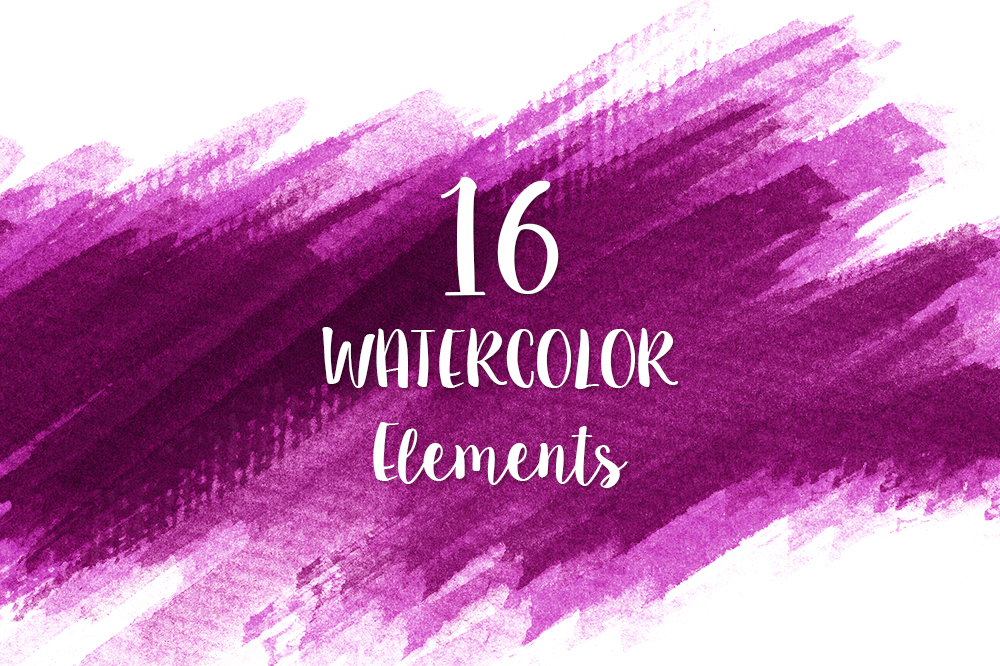 16 Pink Watercolor Design Elements example image 1