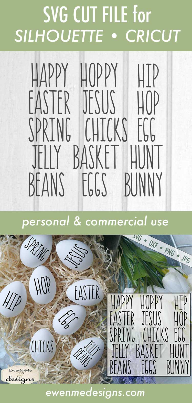 Thin Line Easter Word Bundle Rae Dunn Inspired SVG DXF example image 3