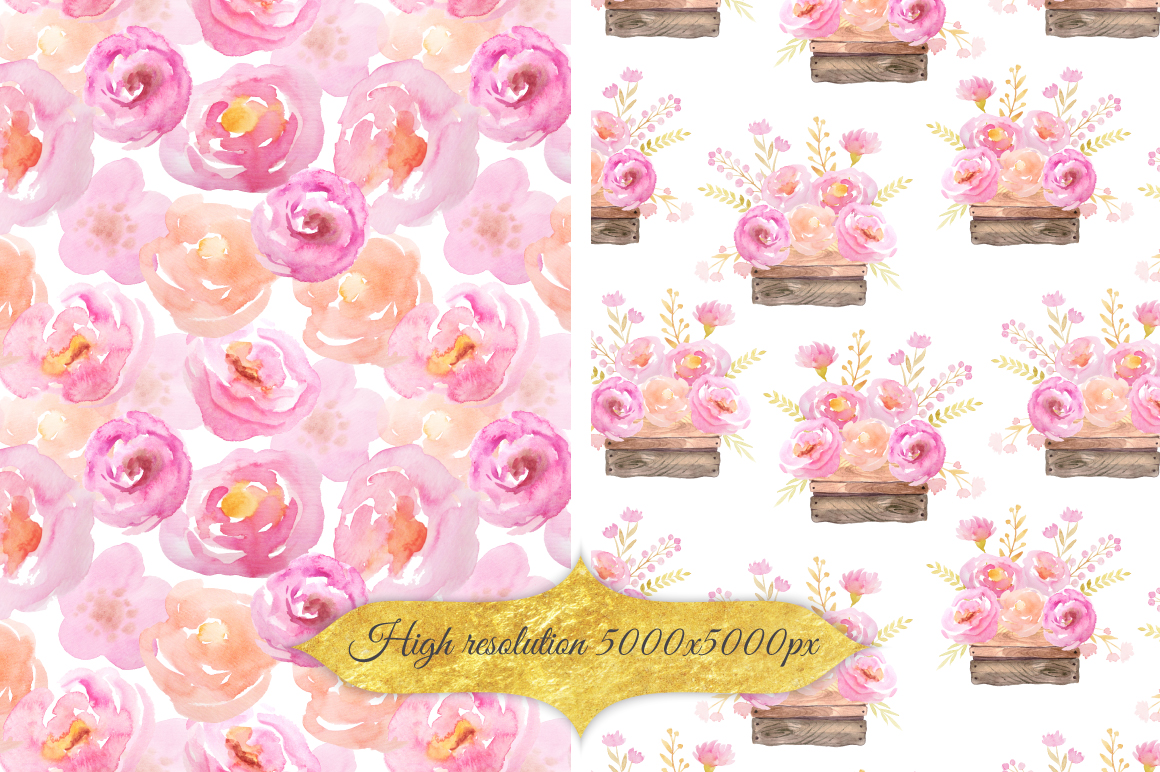 Watercolor Floral Patterns Vol.1 example image 3