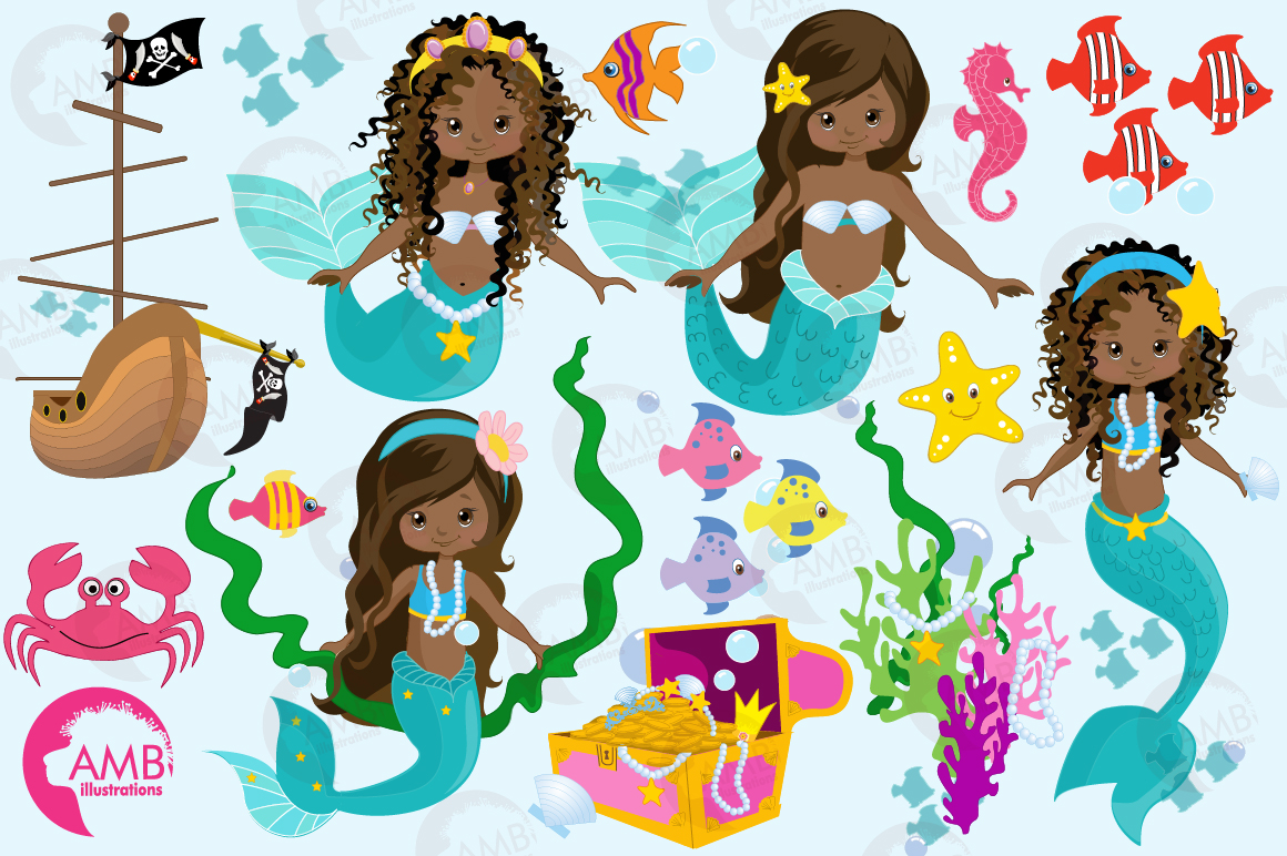 Mermaid Princess clipart, African AMerican Mermaids ...