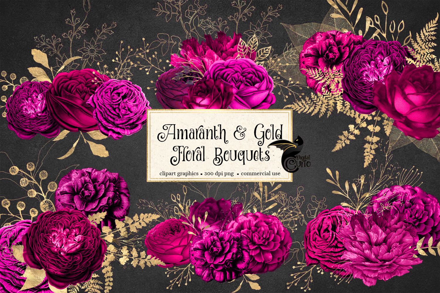 Amaranth and Gold Floral Bouquets example image 2