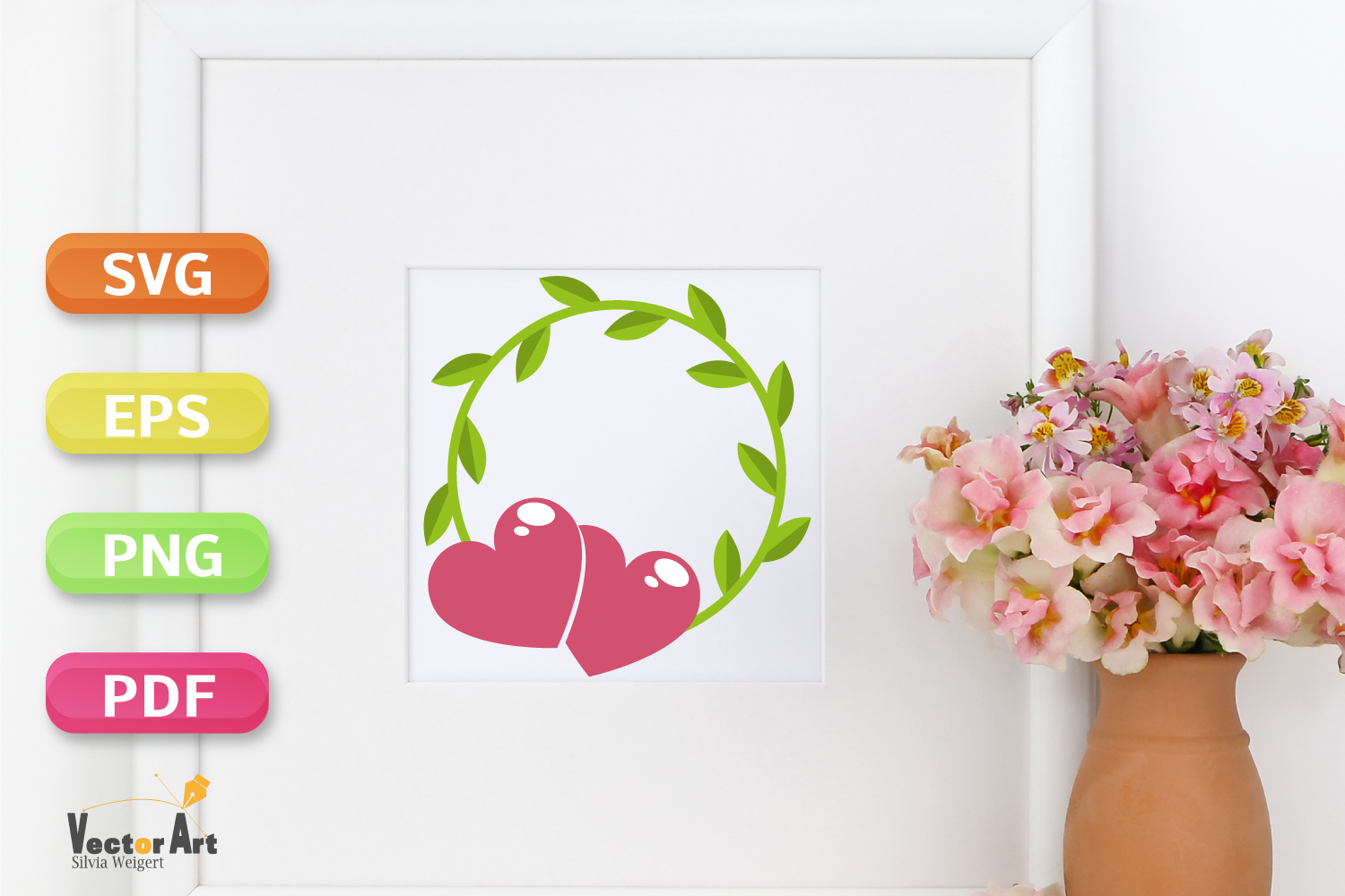 Wedding Wreath with two Hearts - SVG File for Crafters example image 3