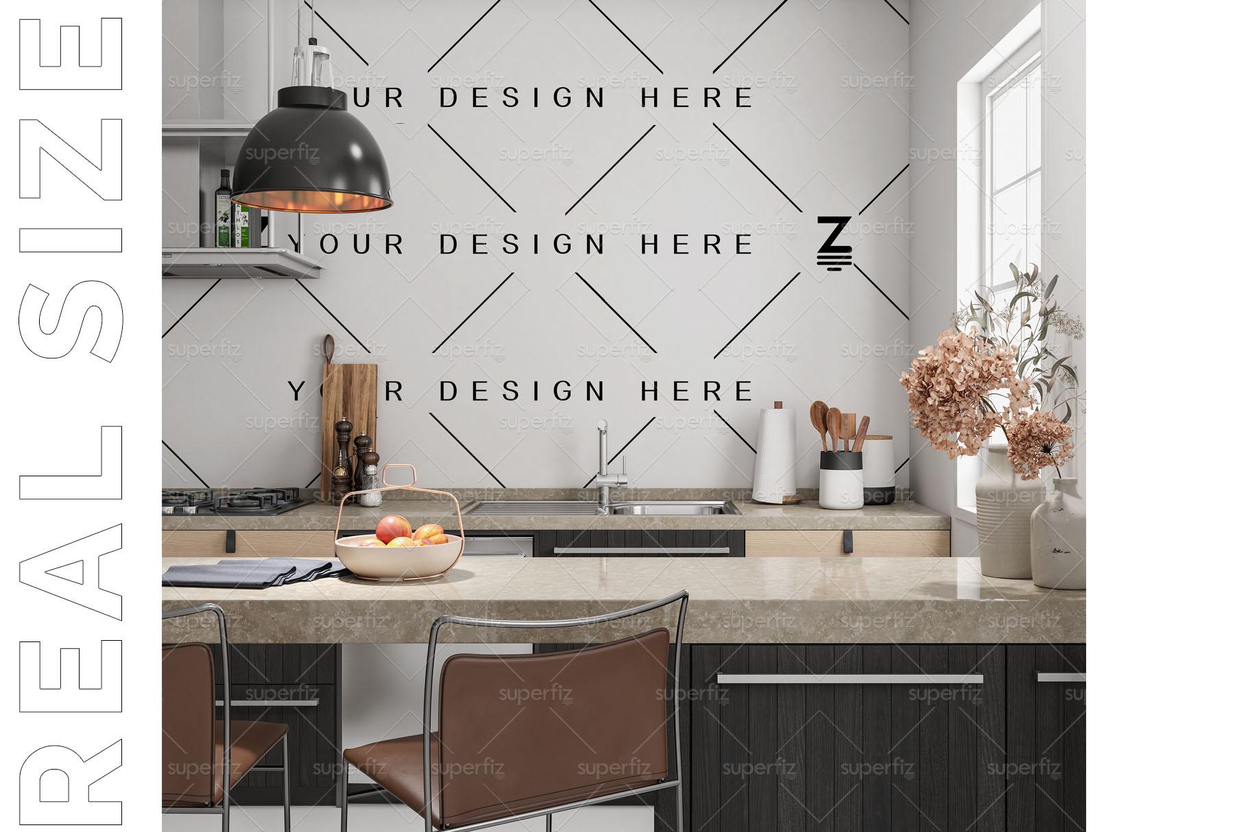 Blank Wall Kitchen PSD Mockup SM73 example image 4