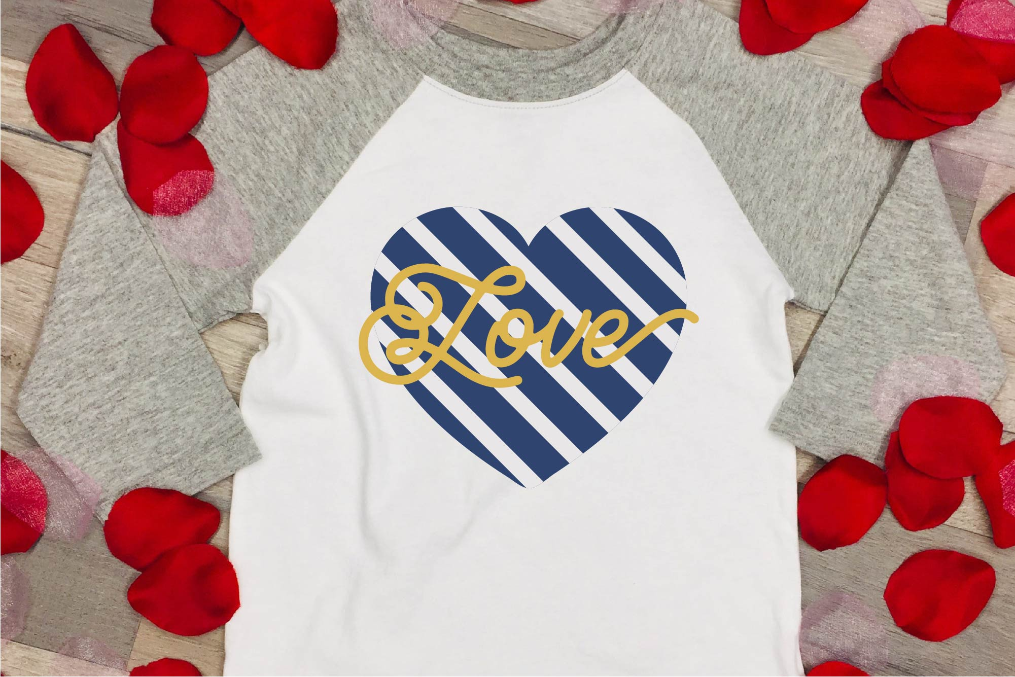 Valentine's Day SVG Love Navy Stripe Heart Sublimation example image 1