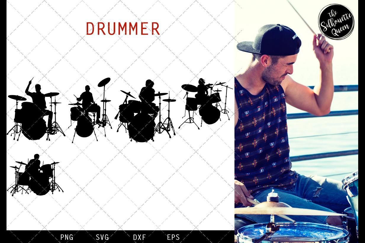 Drummer svg file, musician svg cut file, silhouette studio example image 1