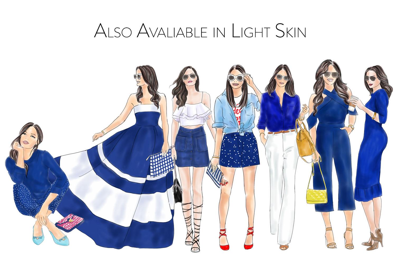 Fashion illustration clipart - Girls in Blue - Dark skin example image 4