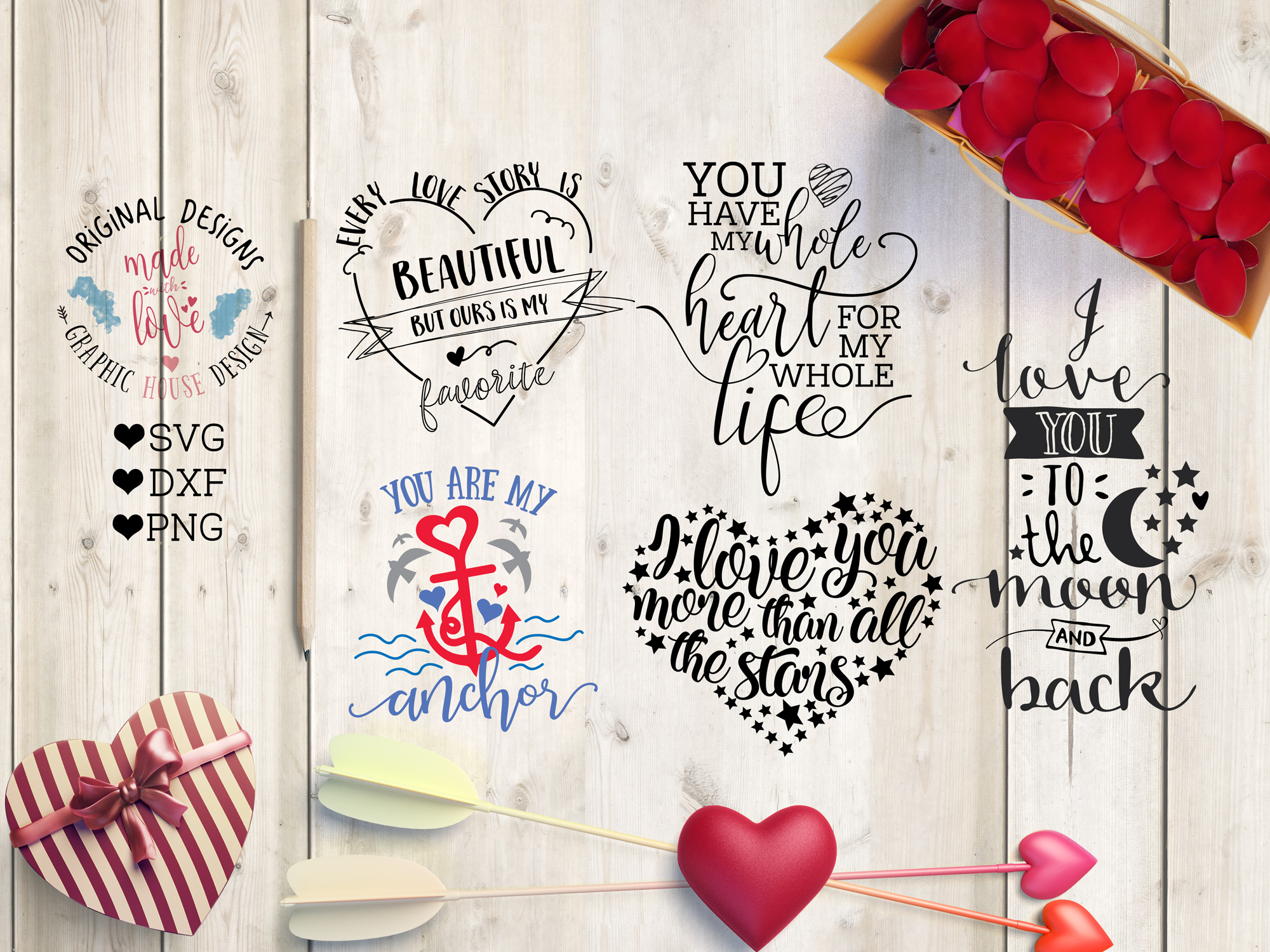 Love Valentines Cut File Bundle in SVG, DXF, PNG example image 2