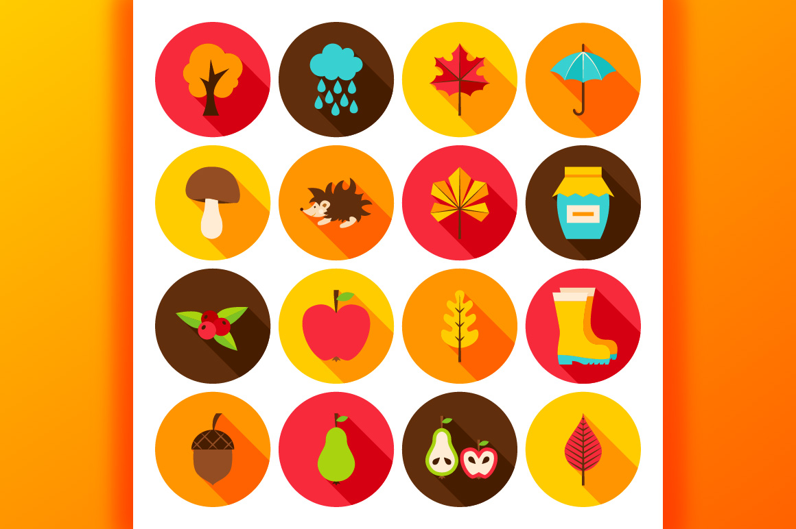 Autumn Flat Icons example image 4