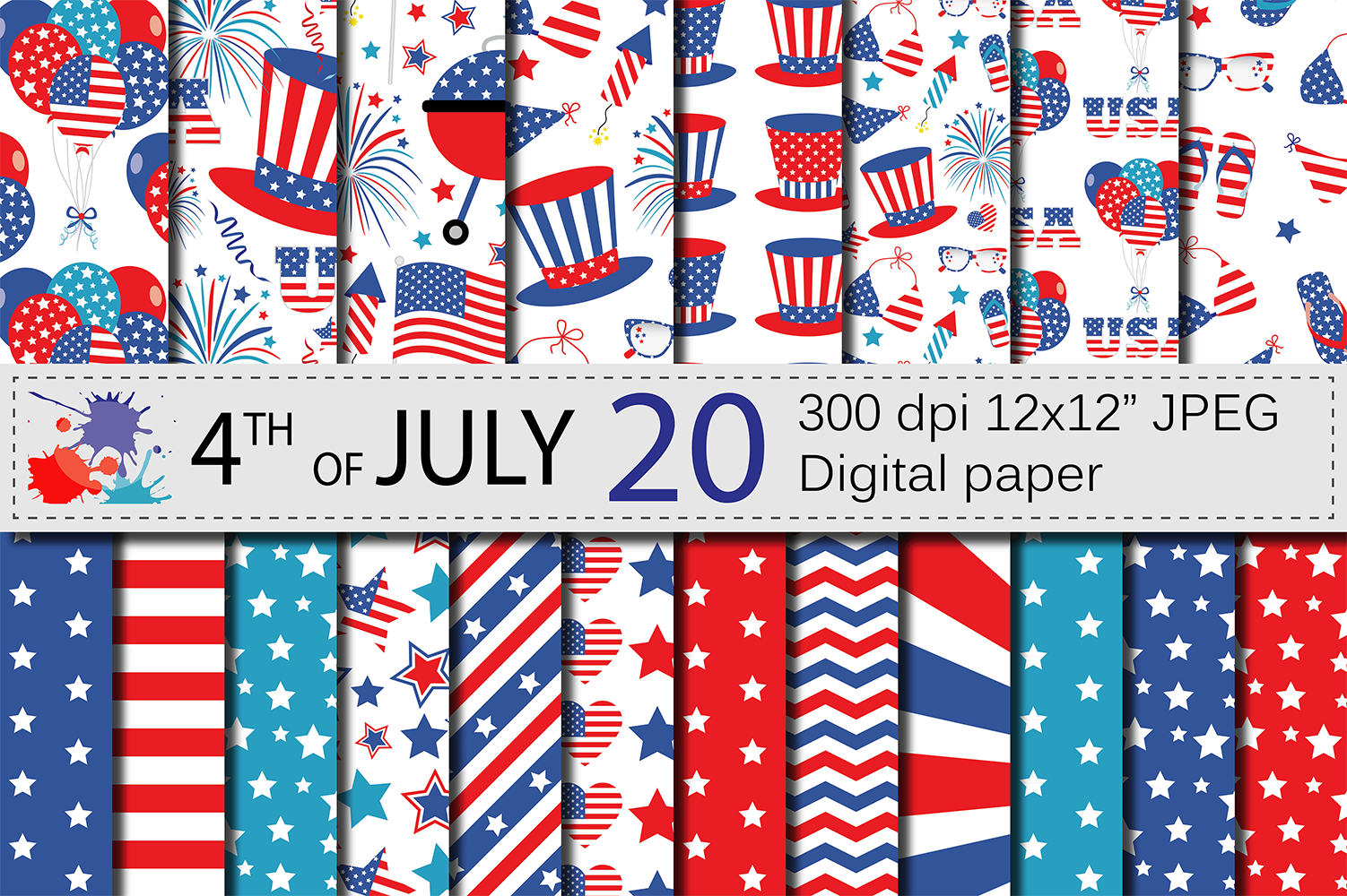 4th of July Digital Paper / USA Independence Day backgrounds / American patriotic Scrapbook paper example image 1