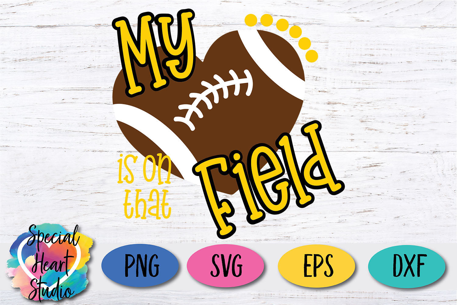 My heart is on that field - SVG - Football cut file example image 2