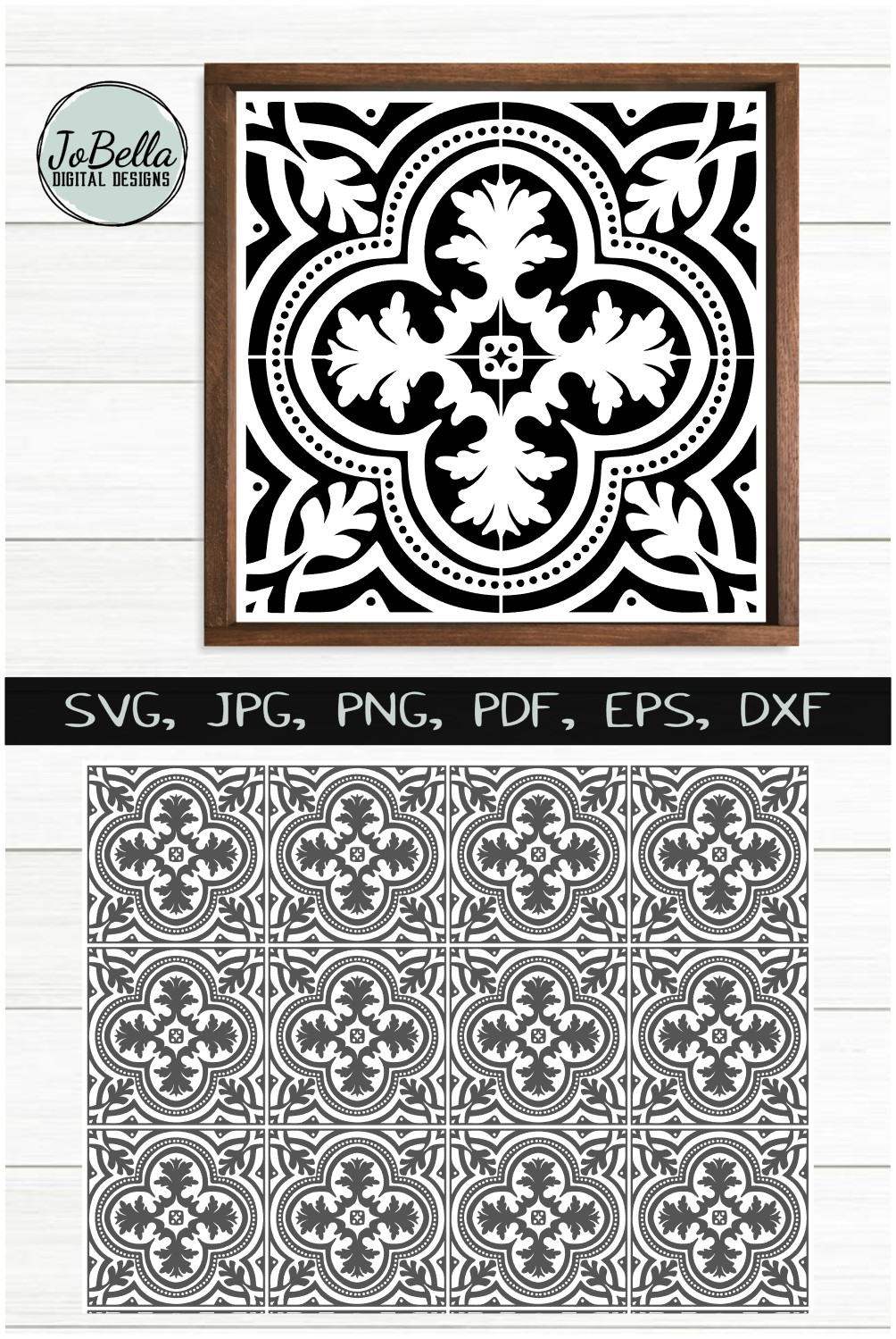 Spanish Tile 1 SVG, Stencil Template and Printable example image 4