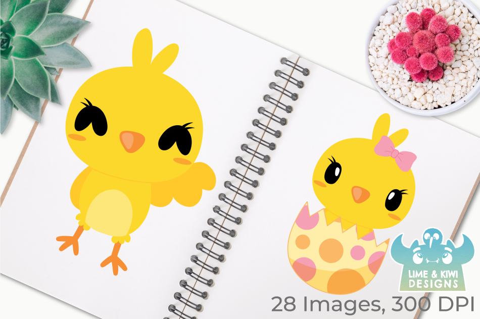 Easter Chicks Clipart, Instant Download Vector Art example image 3